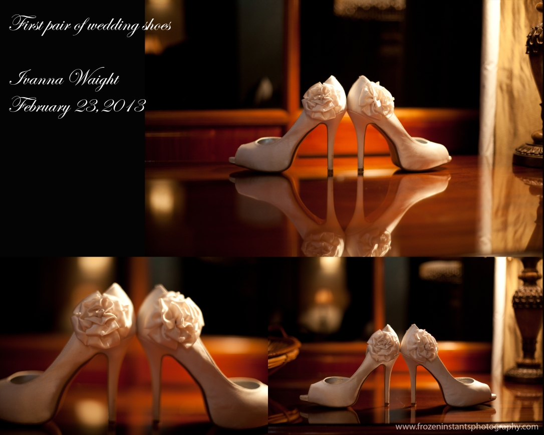 First pair of wedding shoes worn by bride. Gorgeous!Photo taken inside the romantic honeymoon suite at San Ignacio Hotel and Resort