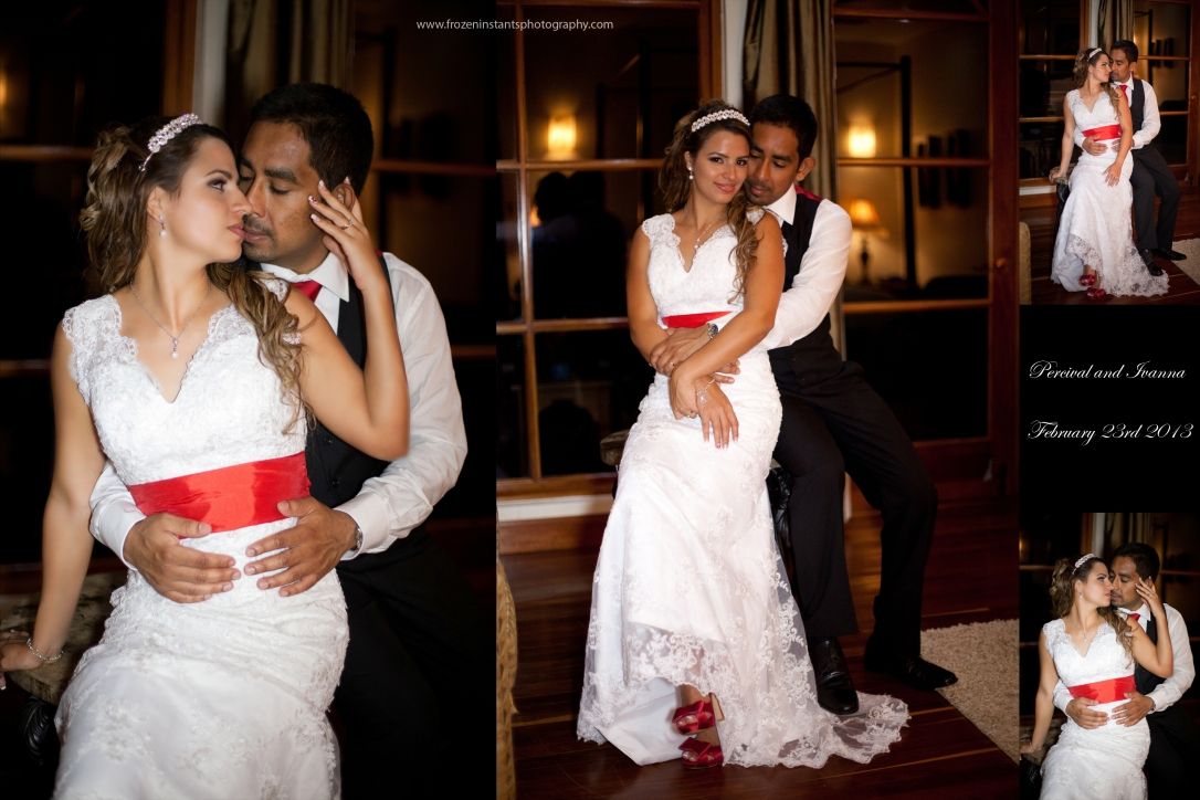 Bride and groom inside Honeymoon suite, San Ignacio Hotel. Bride sporting her second dress for reception