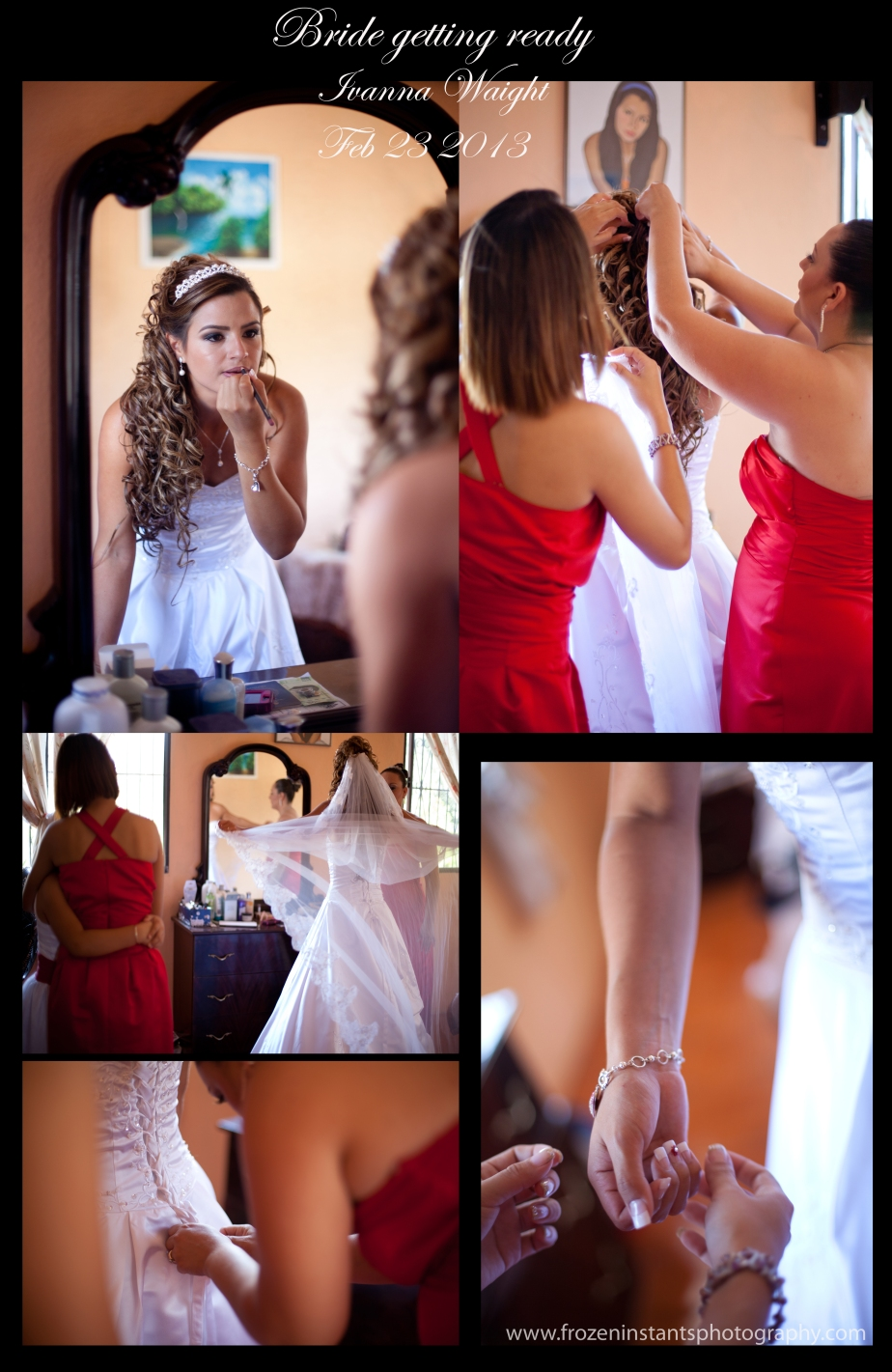 Bride getting ready in her home