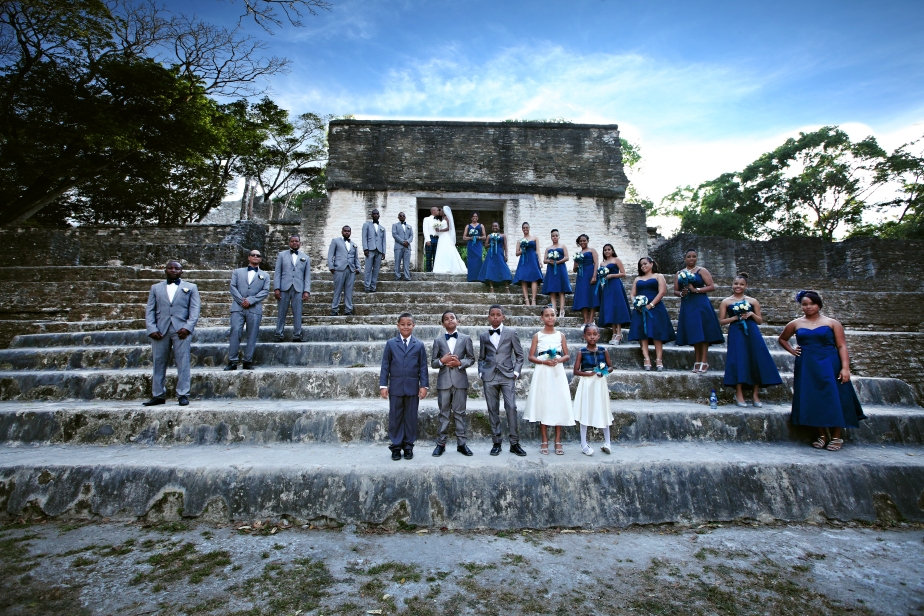 bridal party at cahal pech
