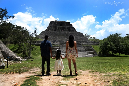 Family appreciates majestic view of Xunantunich Mayan Ruin